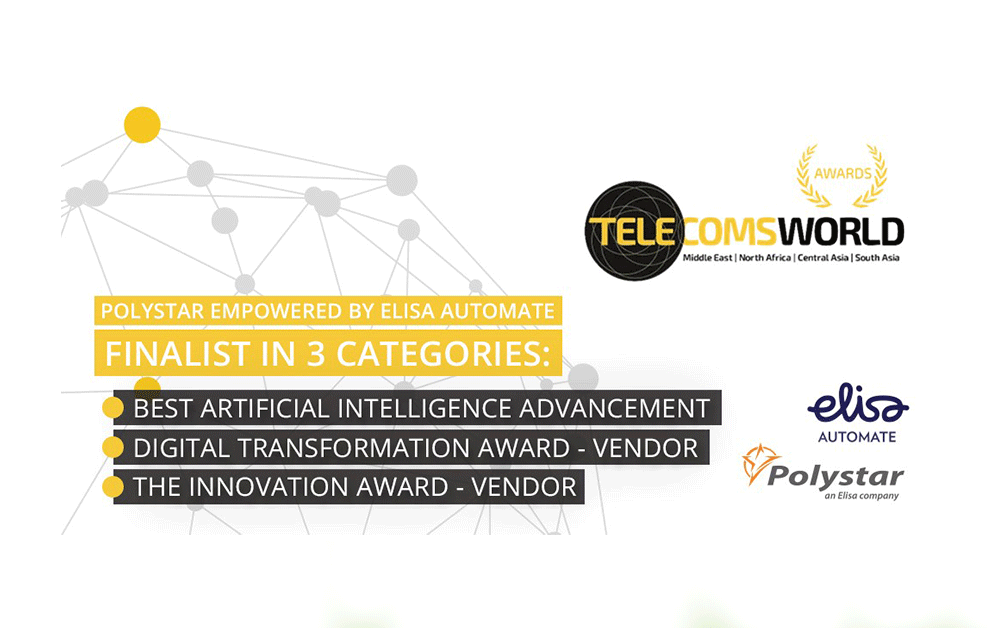 Elisa Automate and Polystar – Finalist in THREE categories for the Telecoms World Middle East awards 2020